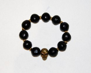 Bodhi Seed Hand Mala with Brass Skull